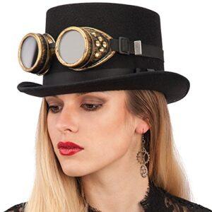 Sombrero de copa baja con gafas steampunk