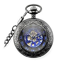 Reloj de bolsillo con grabado en azul y negro