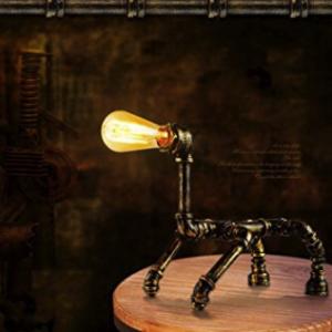 Lampara de mesa de hierro forjado con lampara Edison
