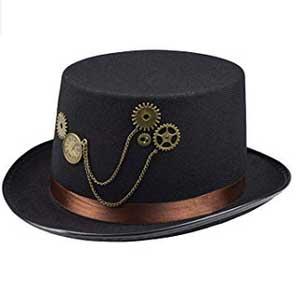 Sombrero elegante con detalles steampunk