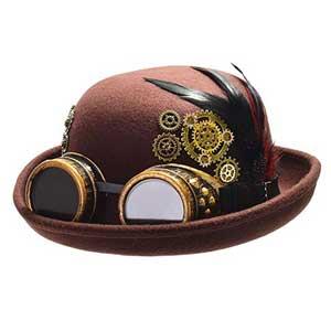 sombrero bajo con gafas steampunk