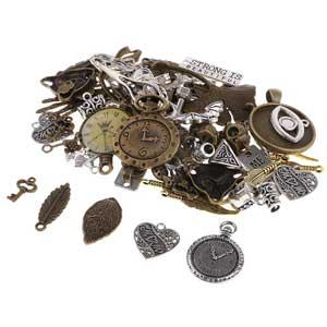 100g de piezas de metal antiguo para manualidades y joyería