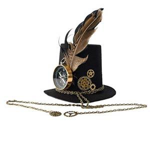 Sombrero con brújula y plumas
