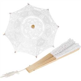 Parasol y abanico victorianos a juego