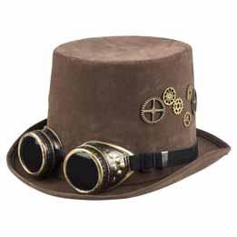 Sombrero con gafas Steampunk marrón