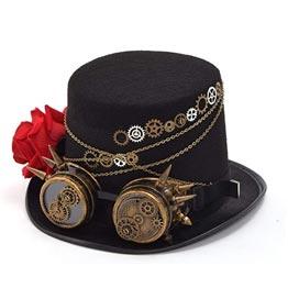 Sombrero envuelto de cadena con rosa y gafas steampunk