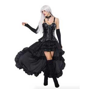 Vestido negro de corsé con falda de volante de cola larga