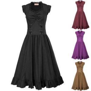 vestido gótico largo con falda y corsé